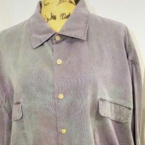 Nat Nast Purple & Green Picot Silk Tie Dye Shirt
